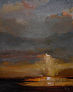 Stormy Waterscape Sunset Seascape Marsh Painting by Gray Artus