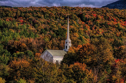 Stowe Church in fall colors by Jeff Folger