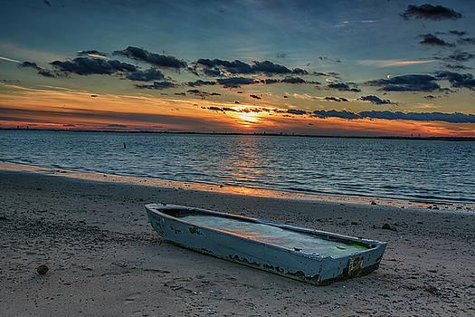 Stranded Boat at Sunset by Dennis Clark