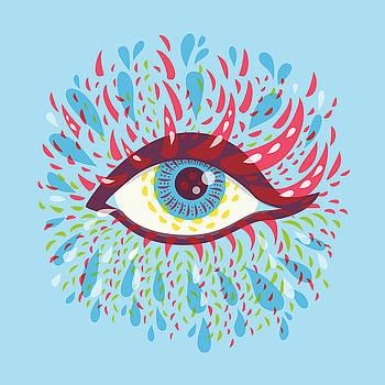 Strange Blue Psychedelic Eye by Boriana Giormova
