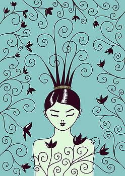 Strange Hairstyle And Flowery Swirls by Boriana Giormova