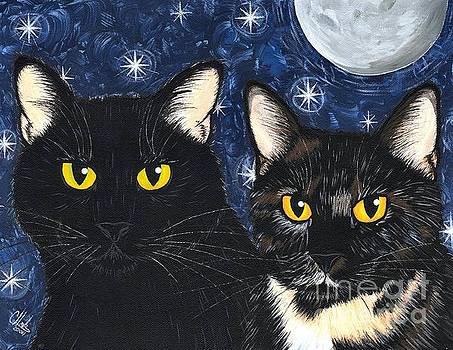 Strangeling's Felines - Black Cat Tortie Cat by Carrie Hawks