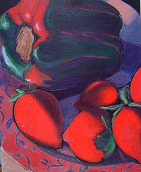 Strawberries and Pepper by Gayle Bell