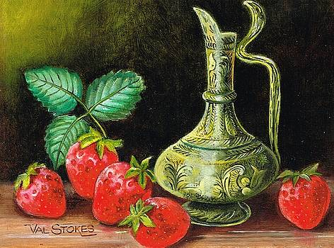 Strawberries--brass vase by Val Stokes