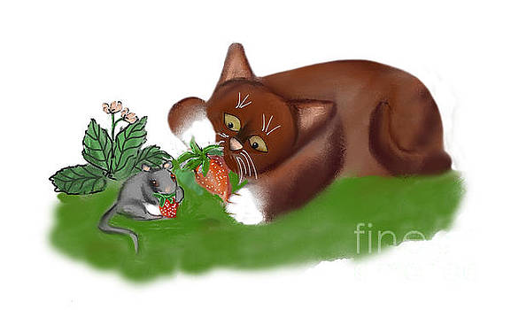Strawberries for Mouse and Kitten by Ellen Miffitt