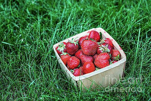 Strawberry inside wooden basket by Miro Vrlik