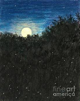 Strawberry Moon Rising with Fireflies by Jymme Golden