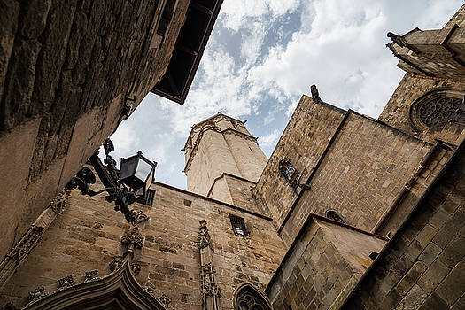 Street behind the Barcelona Cathedral in Spain. by Blaz Gvajc