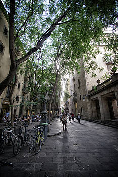 Street Cafe - Barcelona Spain by Russell Mancuso
