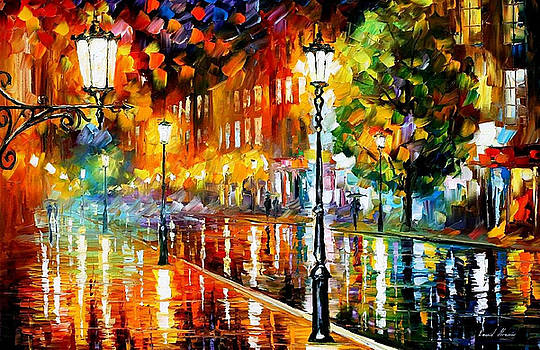 Street Of Illusions - PALETTE KNIFE Oil Painting On Canvas By Leonid Afremov by Leonid Afremov
