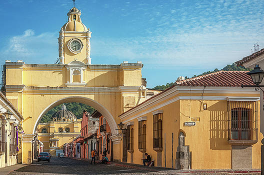 Street Perspective in Antigua with Santa Catalina Arch by Daniela Constantinescu
