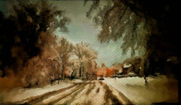Street scene winter isolation snow tracks cold trees beautiful Christmas by MendyZ