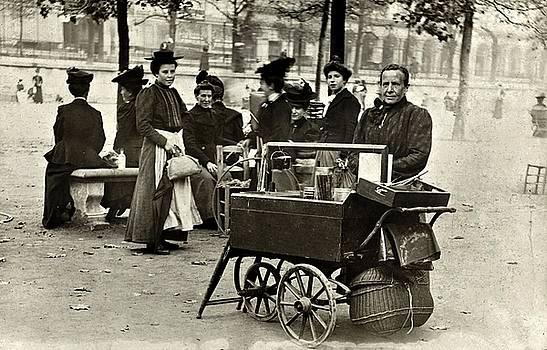 Street vendor selling juice, Jardin des Tuileries, Paris ca. 1910 by Vintage Printery
