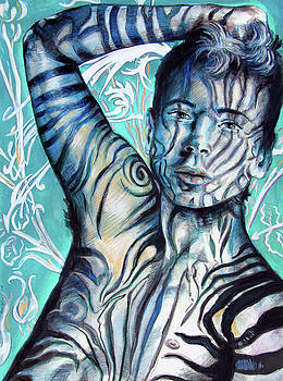 Strength in Blue Stripes, Zebra Boy #6 by Rene Capone