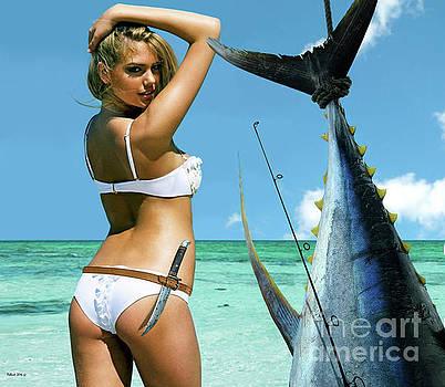 Kate Upton, Strike a Pose,' trophy yellowfin tuna, 50 lb test line, Mako Point, FL by Thomas Pollart