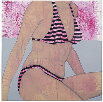 Striped Bikini canvas by Judith Sturm