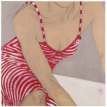 Striped dress grey wall by Judith Sturm