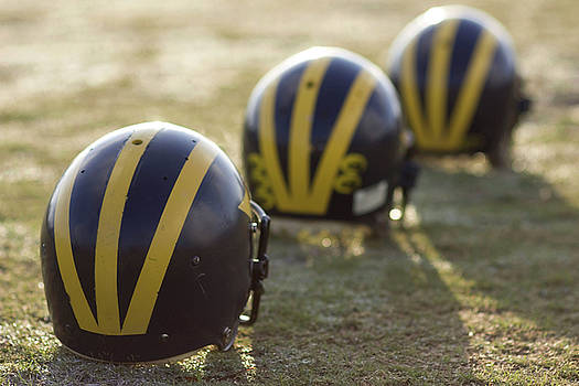 Striped Helmets on a Yard Line by Michigan Helmet