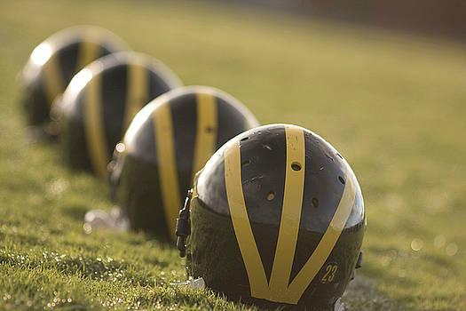 Striped Helmets on Yard Line by Michigan Helmet
