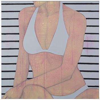 Stripes and white bikini II by Judith Sturm