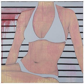 Stripes And White Bikini by Judith Sturm