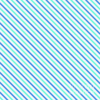 Beverly Claire Kaiya - Stripes Diagonal Turquoise Blue Summer Simple Modern
