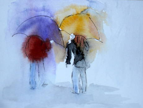 Strolling in the Rain by Vicki  Housel