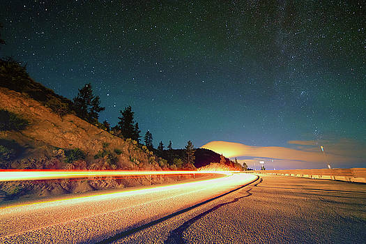 Strong Summer Light Trails on NV State Route 207 Under the North End of the Milky Way by Brian Ball