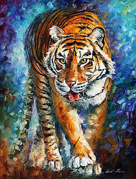 Strong Tiger - PALETTE KNIFE Oil Painting On Canvas By Leonid Afremov by Leonid Afremov