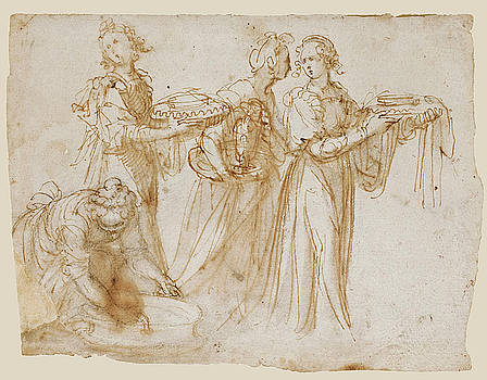 Guglielmo Caccia - Studies of Four Women carrying Vessels at the Scene of a Birth