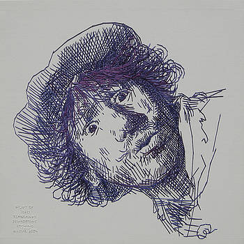 study-in-thread of 1630 Rembrandt self-portrait etching by Barbara Lugge