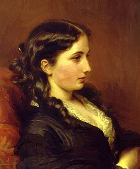 Winterhalter Franz Xaver - Study Of A Girl In Profile