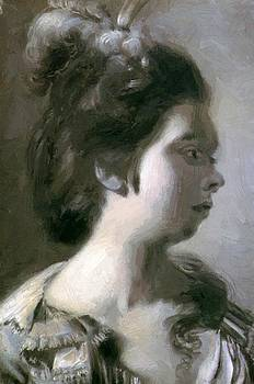 Wright Joseph - Study Of A Young Girl With Feathers In Her Hair