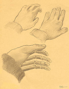 Study of Hands, Phalanges and Bone Structure by Miko At The Love Art Shop