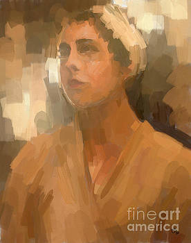 Study - Woman with Scarf by Carrie Joy Byrnes