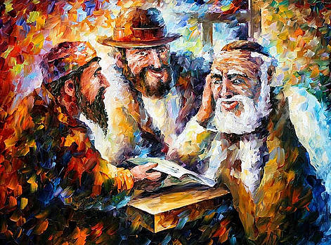Studying Bible - PALETTE KNIFE Oil Painting On Canvas By Leonid Afremov by Leonid Afremov