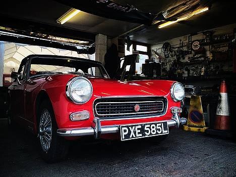 Stunning Red MG Midget in Garage by Matt Perry