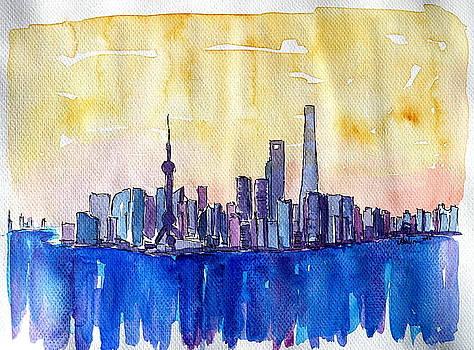 Stunning Shanghai Skyline in Watercolor  by M Bleichner