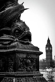Sturgeon Lamp Post with Big Ben London Black and White by Marina McLain
