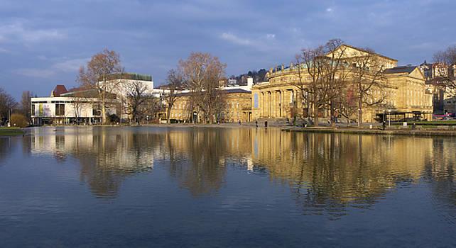 Stuttgart State Theater beautiful reflection in blue water by Matthias Hauser