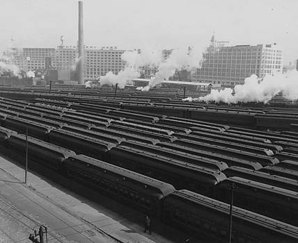 Chicago and North Western Historical Society - Suburban Coaches in Erie Street Yard