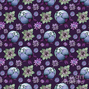 Succulents and Peonies Pattern 2 by NamiBear