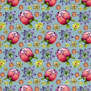 Succulents and Peonies Pattern by NamiBear