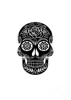 Sugar Skull Day of the Dead Black Ink by Edward Fielding