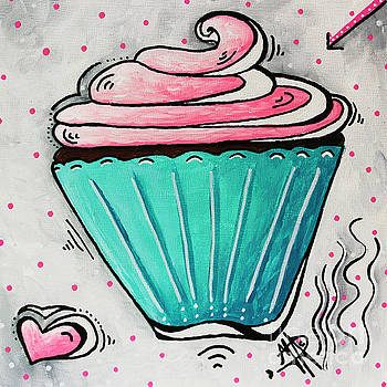 Sugary Sweet Cupcake Mini PoP Art Original Painting by MADART by Megan Duncanson