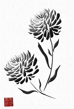 Sumi-e - Chrysanthemum - One by Lori Grimmett