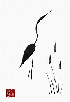 Sumi-e - Japanese Crane - One by Lori Grimmett