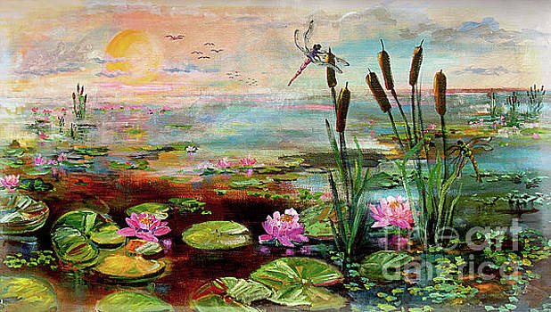 Summer By The Golden Pond Lily Flowers by Ginette Callaway
