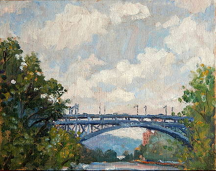 Summer Clouds Henry Hudson Bridge From Inwood NYC by Thor Wickstrom