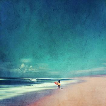 Summer Days - Abstract Seascape with Surfer by Dirk Wuestenhagen